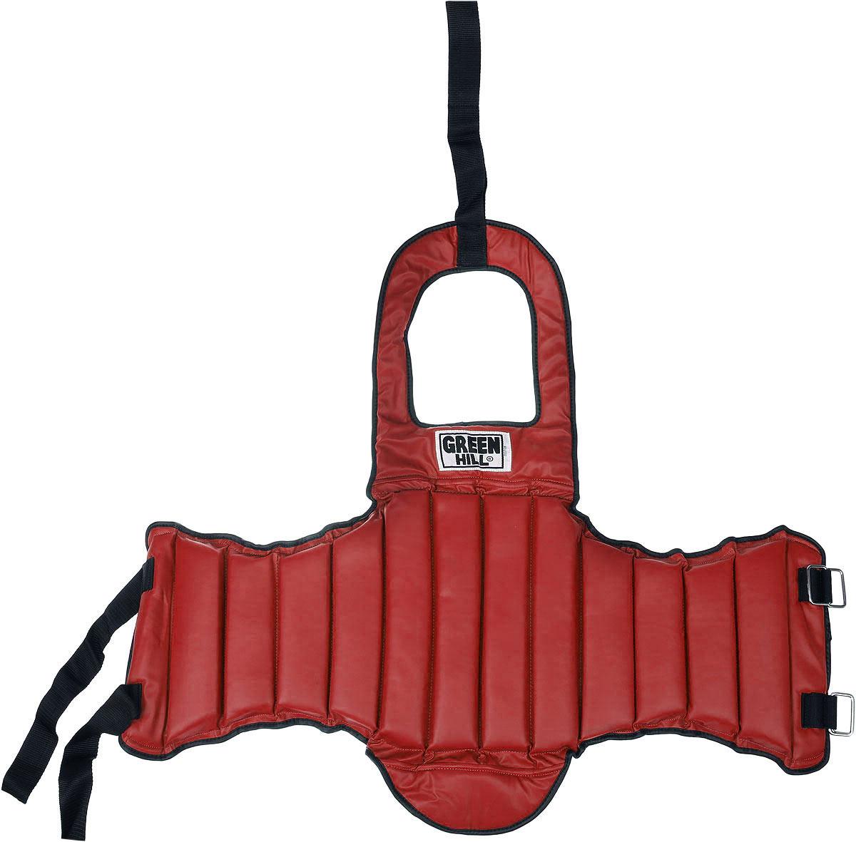 Защита на грудь Green Hill, цвет: красный, синий. Размер S. TSG-6026TSG-6026Защита на грудь Green Hill с наполнителем, выполненным из пенополиэтилена, необходима при занятиях спортом для защиты тела. Защита выполнена из высококачественной искусственной кожи. Закрепляется на теле при помощи нейлоновых ремней.Удобный и эргономичный жилет на грудь Green Hill идеально подойдет для занятий тхэквондо и другими видами единоборств.Ширина защиты: 87 см.Ширина без боковых секций: 22 см.Высота без фартука: 30 см.Высота с учетом фартука: 76 см.Толщина защитного слоя: 2,5 см.