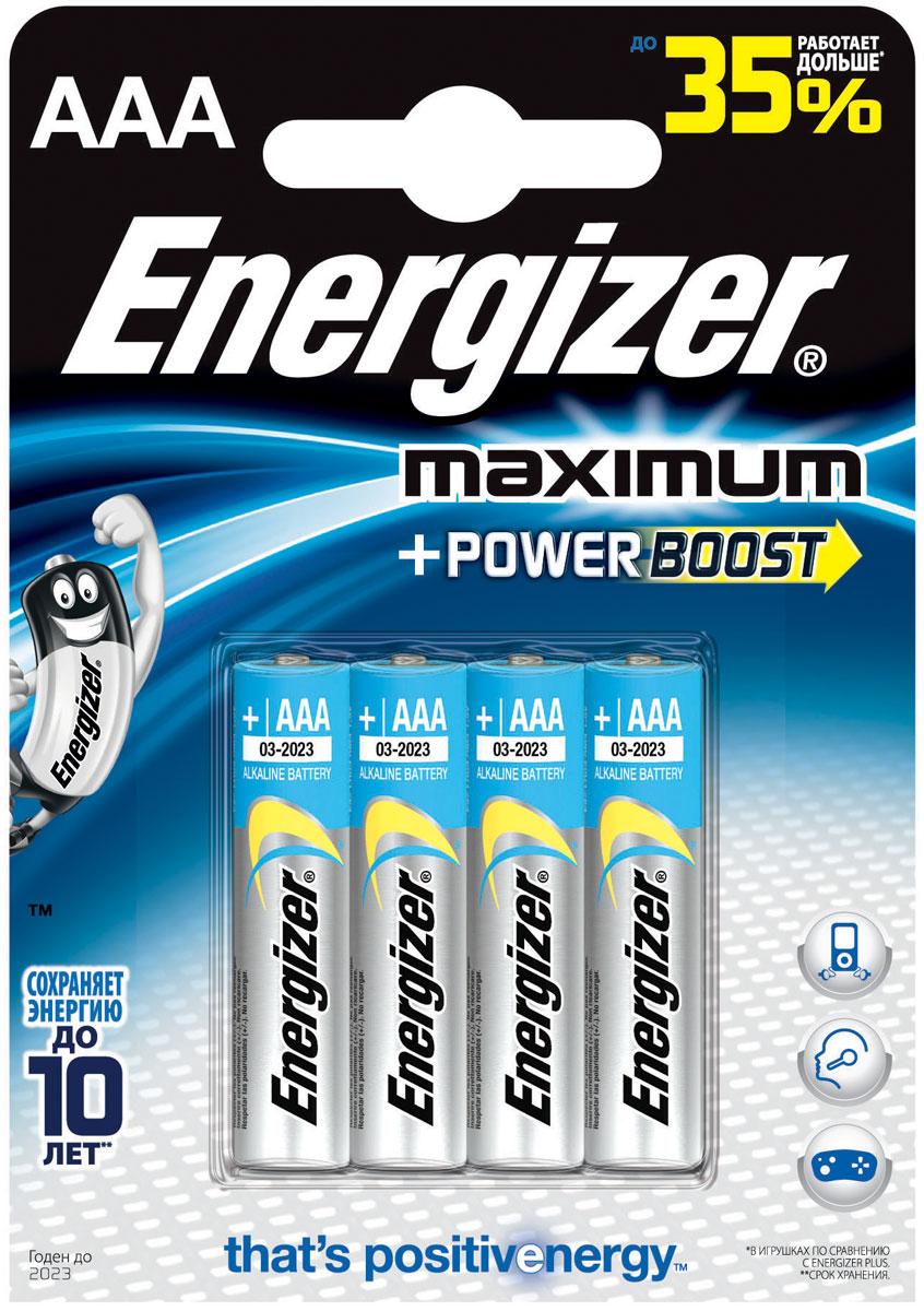 Батарейка алкалиновая Energizer Maximum, тип ААА, 4 шт638398/635276/636179/629757Батарейки Energizer Maximum с технологией PowerBoost - самые долговечные батарейки в семействе щелочных батареек Energizer. Они работают до 35% дольше, чем стандартные щелочные батарейки типоразмера АAA, идеальны для часто используемых устройств. Батарейки Energizer Maximum с технологией PowerBoost сохраняют заряд до 10 лет.Тип элемента питания: алкалиновая.Уважаемые клиенты! Обращаем ваше внимание на возможные изменения в дизайне упаковки. Качественные характеристики товара остаются неизменными. Поставка осуществляется в зависимости от наличия на складе.