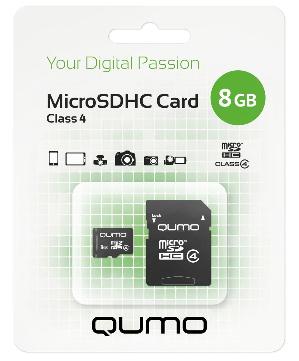 QUMO microSDHC Class 4 8GB карта памяти + адаптер6909723171544Карта памяти QUMO microSDHC Class 4 позволяет осуществлять расширение памяти цифровых плееров, цифровых фотоаппаратов и видеокамер, коммуникаторов, смартфонов, интернет планшетов и других совместимых устройств. Карты памяти Qumo являются качественным решением для хранения и переноса различного рода информации, такой как, музыкальный файлы, фотографии, электронные документы и другие важные для вас файлы.Внимание: перед оформлением заказа, убедитесь в поддержке вашим электронным устройством карт памяти данного объема.
