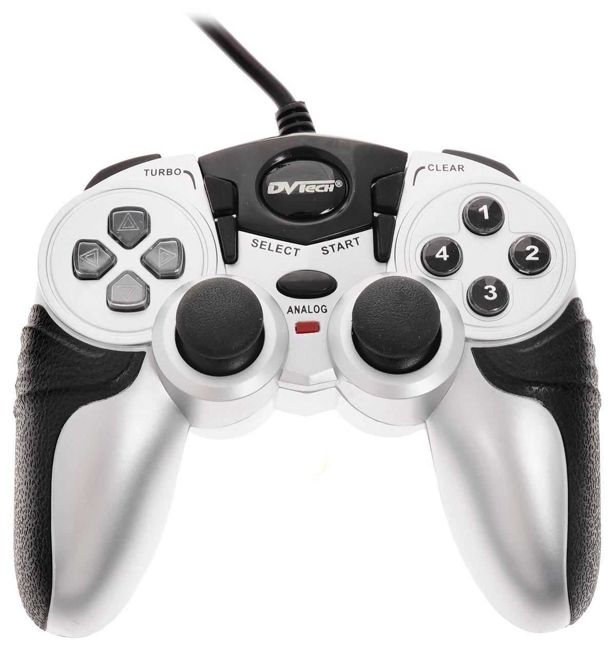 Игровой джойстик для PC/PS1/PS2 DVTech JS55 Shock Jet (черно-серый)JS 55Джойстик JS55 Shock Jet привлекает внимание интересным и запоминающимся внешним видом и при этом продуманным расположением кнопок управления. Простота подключения и отзывчивое управление позволяет сделать процесс игры комфортным. Рифленые прорезиненные вставки на рукоятках помогают надежно фиксировать джойстик в руках, а это немаловажная деталь, особенно для поклонников динамичных сражений.