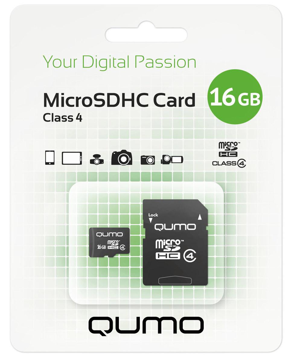 QUMO microSDHC Class 4 16GB карта памяти + адаптер