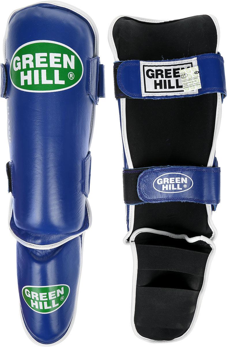 Защита голени и стопы Green Hill Classic, цвет: синий, черный. Размер S. G-0019SPT-2123Защита голени и стопы Green Hill Classic с наполнителем, выполненным из вспененного полимера, необходима при занятияхспортом для защиты пальцев и суставов от вывихов, ушибов и прочих повреждений.Накладки выполнены из высококачественной натуральной кожи. Они надежно фиксируются за счет ленты и липучек. Удобные и эргономичные накладки Green Hill Classic идеально подойдут для занятий тхэквондо и другими видами единоборств. Длина голени: 34 см. Ширина голени: 15 см. Длина стопы: 17 см. Ширина стопы: 12 см.