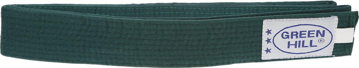 Пояс для карате Green Hill, цвет: зеленый. G-1014A. Размер 280G-1014AПояс для карате Green Hill - универсальный пояс для кимоно. Пояс выполнен из плотного хлопкового материала с многорядной прострочкой. Модель дополнена текстильной нашивкой с названием бренда.