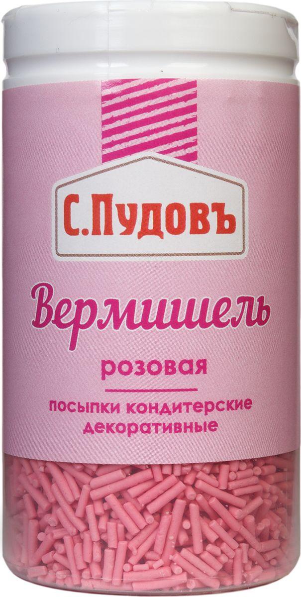 Пудовъ посыпки вермишель розовая, 40 г