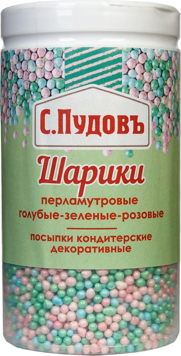 Пудовъ посыпки шарики перламутровые голубые-зеленые-розовые, 40 г пудовъ винный камень 20 г