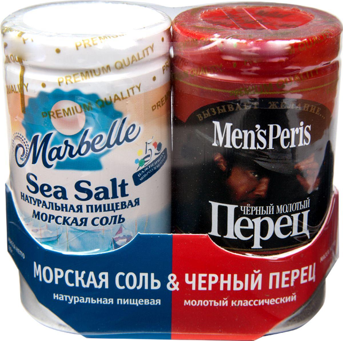 Marbellе набор соль морская и перец черный, 115 г4607012291431Соль и перец — два самых востребованных ингредиента на кухне. Они добавляются при приготовлении практически любых видов продуктов — мяса, рыбы, птицы, овощей.