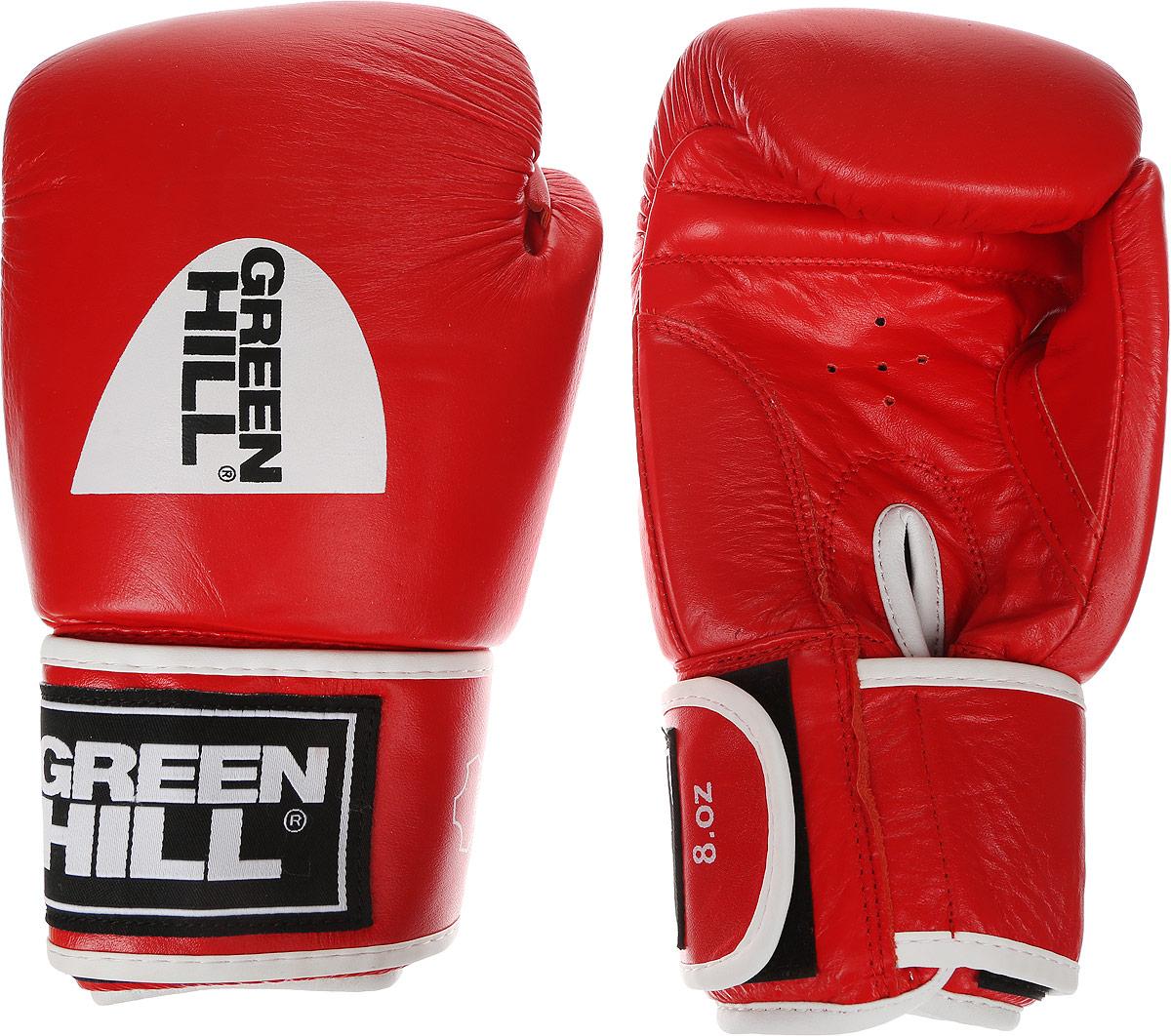 цена на Перчатки боксерские Green Hill Gym, цвет: красный, белый. Вес 8 унций