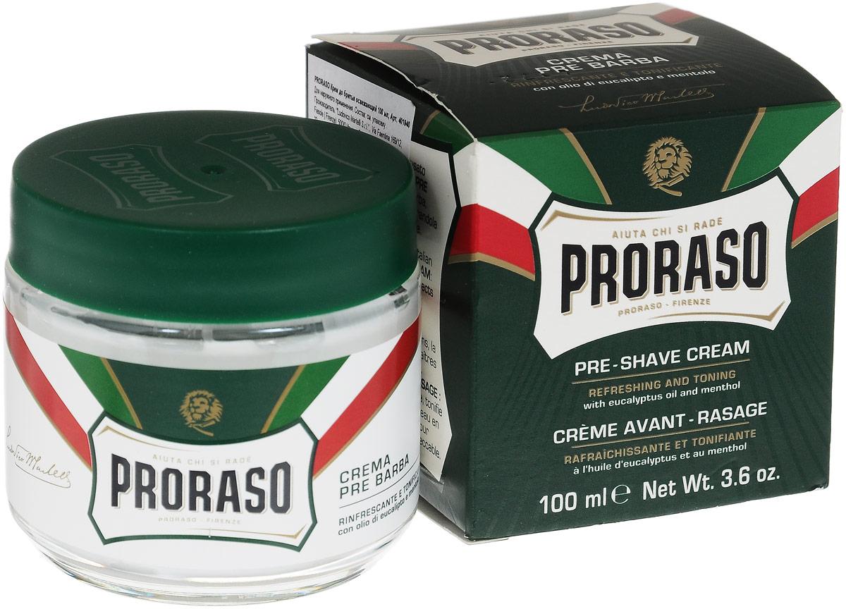 Proraso Крем до бритья освежающий 100 мл400400Крем до бритья освежающий для подготовки кожи к бритью (pre-shave) имеет плотную концентрированную текстуру, которая делает кожу эластичной, а бритье легким и безопасным.