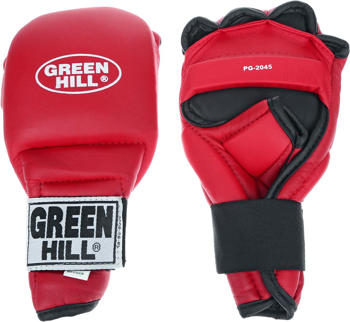 Перчатки для рукопашного боя Green Hill, цвет: красный, черный. Размер S. PG-2045PG-2045Перчатки для рукопашного боя Green Hill произведены из высококачественной искусственной кожи. Подойдут для занятий кунг-фу. Конструкция предусматривает открытые пальцы - необходимый атрибут для проведения захватов. Манжеты на липучках позволяют быстро снимать и надевать перчатки без каких-либо неудобств. Анатомическая посадка предохраняет руки от повреждений.