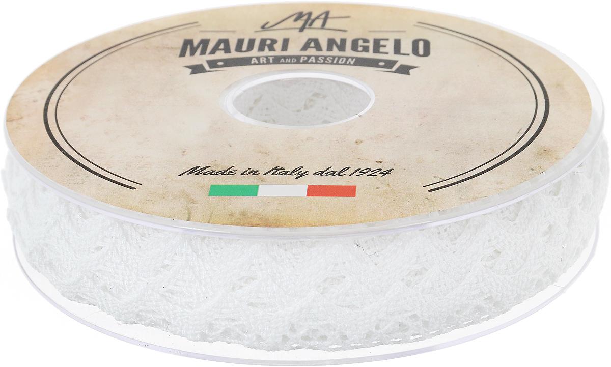 Лента кружевная Mauri Angelo, цвет: белый, 1,8 см х 20 мMR2710_белыйДекоративная кружевная лента Mauri Angelo - текстильное изделие без тканой основы, в котором ажурный орнамент и изображения образуются в результате переплетения нитей. Кружево применяется для отделки одежды, белья в виде окаймления или вставок, а также в оформлении интерьера, декоративных панно, скатертей, тюлей, покрывал. Главные особенности кружева - воздушность, тонкость, эластичность, узорность.Декоративная кружевная лента Mauri Angelo станет незаменимым элементом в создании рукотворного шедевра. Ширина: 1,8 см.Длина: 20 м.