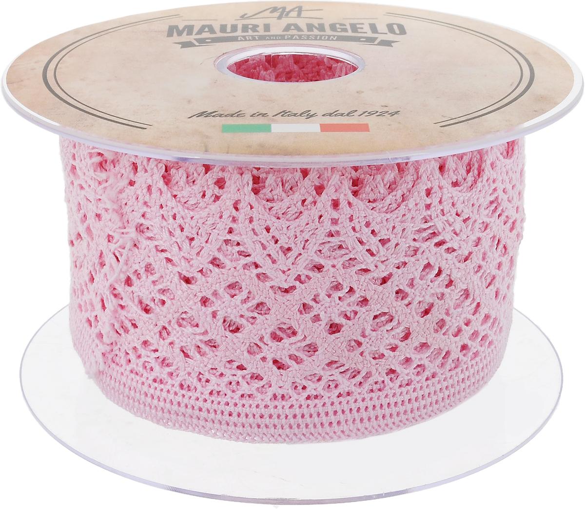 Лента кружевная Mauri Angelo, цвет: розовый, 5,9 см х 10 мMR4133/015_розовыйДекоративная кружевная лента Mauri Angelo - текстильное изделие без тканой основы, в котором ажурный орнамент и изображения образуются в результате переплетения нитей. Кружево применяется для отделки одежды, белья в виде окаймления или вставок, а также в оформлении интерьера, декоративных панно, скатертей, тюлей, покрывал. Главные особенности кружева - воздушность, тонкость, эластичность, узорность.Декоративная кружевная лента Mauri Angelo станет незаменимым элементом в создании рукотворного шедевра. Ширина: 5,9 см.Длина: 10 м.