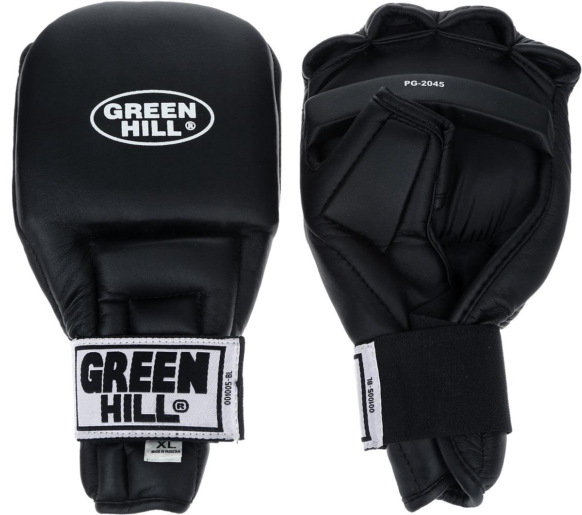 Перчатки для рукопашного боя Green Hill, цвет: черный. Размер XL. PG-2045PG-2045Перчатки для рукопашного боя Green Hill произведены из высококачественной искусственной кожи. Подойдут для занятий кунг-фу. Конструкция предусматривает открытые пальцы - необходимый атрибут для проведения захватов. Манжеты на липучках позволяют быстро снимать и надевать перчатки без каких-либо неудобств. Анатомическая посадка предохраняет руки от повреждений.
