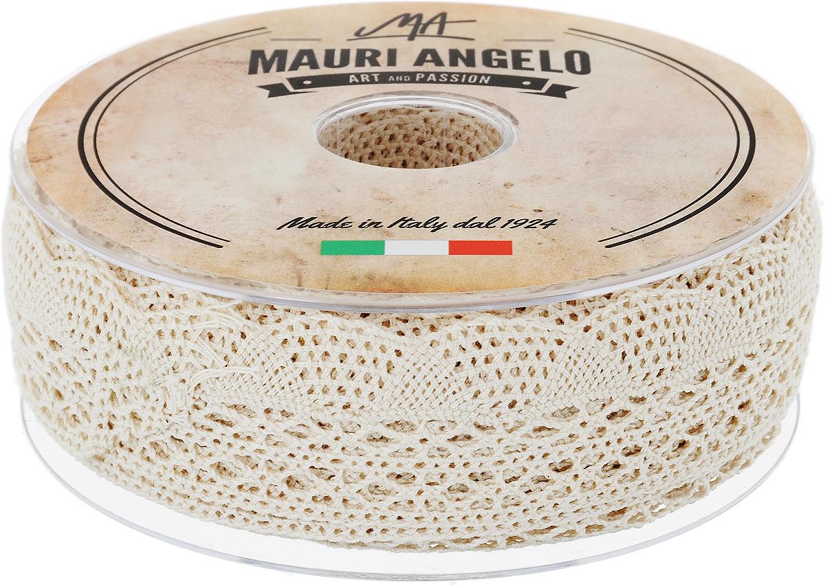 Лента кружевная Mauri Angelo, цвет: кремовый, 3,4 см х 20 м