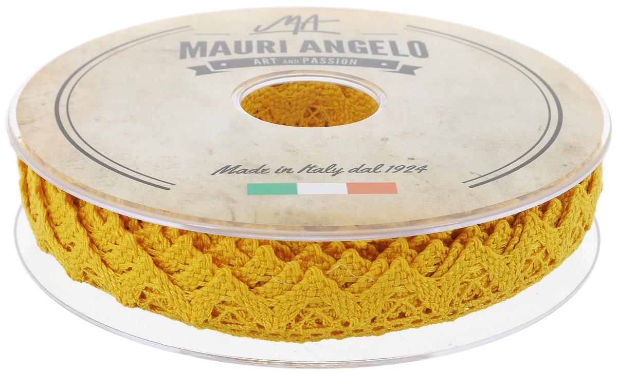 Лента кружевная Mauri Angelo, цвет: желтый, 1,8 см х 20 мMR2710/030_желтыйДекоративная кружевная лента Mauri Angelo - текстильное изделие без тканой основы, в котором ажурный орнамент и изображения образуются в результате переплетения нитей. Кружево применяется для отделки одежды, белья в виде окаймления или вставок, а также в оформлении интерьера, декоративных панно, скатертей, тюлей, покрывал. Главные особенности кружева - воздушность, тонкость, эластичность, узорность.Декоративная кружевная лента Mauri Angelo станет незаменимым элементом в создании рукотворного шедевра. Ширина: 1,8 см.Длина: 20 м.
