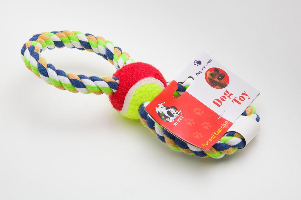 Игрушка для собак MrPet Восьмерка с мячом, канатная, цвет: желтый, красный, длина 25 см игрушка канатная mrpet восьмерка с мячем цвет желтый красный 25 см