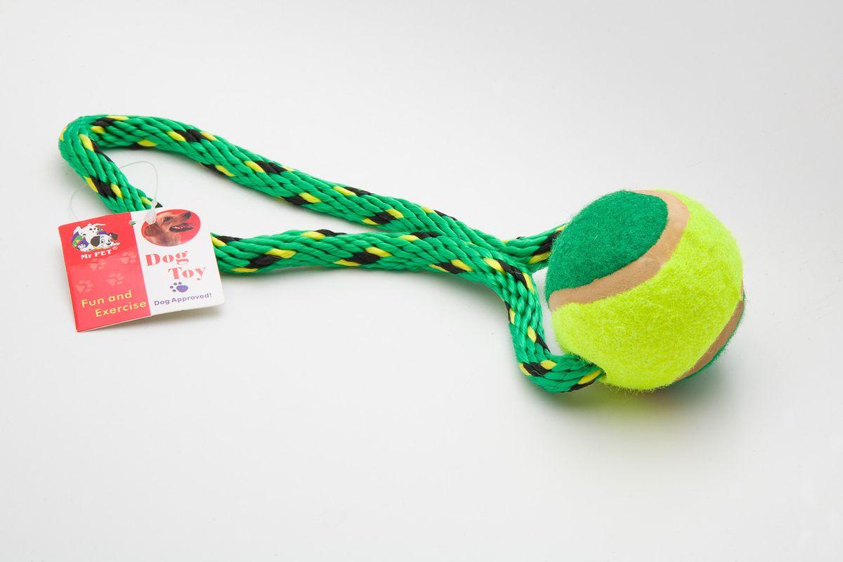 Игрушка канатная MrPet, с теннисным мячом, 18 см игрушка канатная mrpet восьмерка с мячем цвет желтый красный 25 см