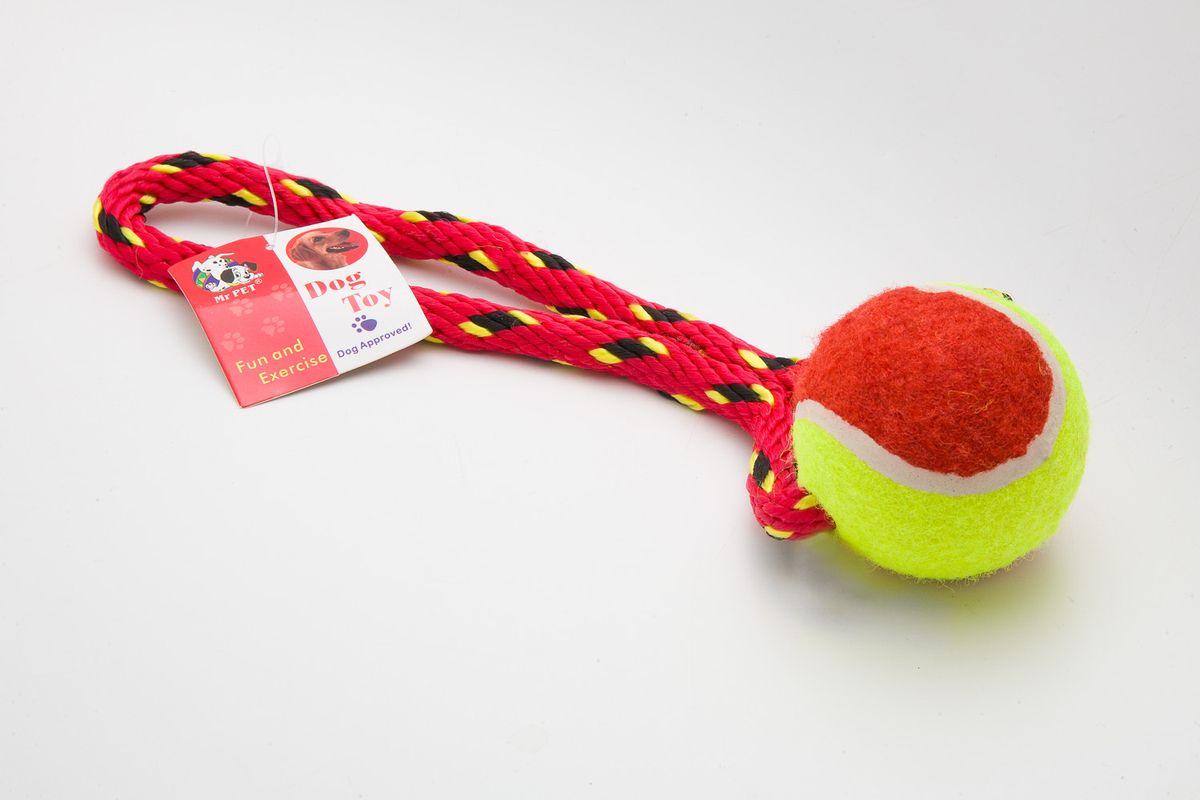 """Игрушка канатная """"MrPet"""", с теннисным мячом, цвет: красный, желтый, 18 см"""