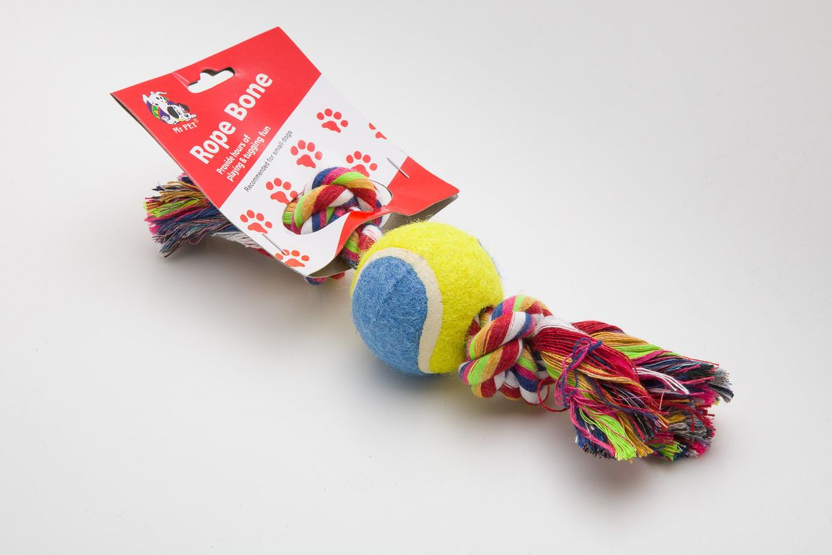 Игрушка канатная MrPet, с теннисным мячом, 18 см. 2108 игрушка канатная mrpet восьмерка с мячем цвет желтый красный 25 см