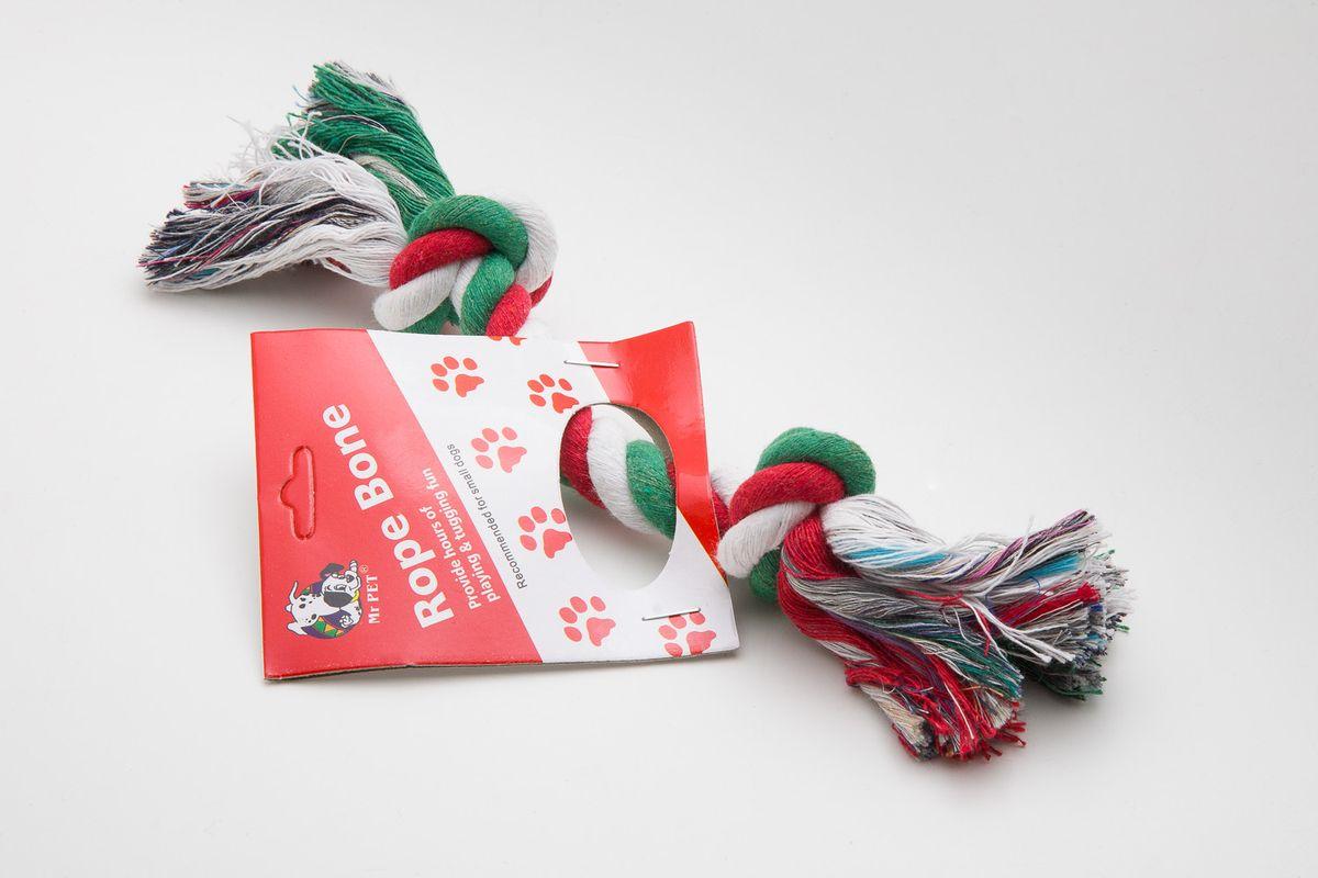 Игрушка для собак MrPet, канатная, цвет: белый, зеленый, красный, длина 20 см2110Канатная игрушка для собак MrPet изготовлена из натуральной хлопковой веревки, поэтому не только увлекательна, но и полезна для здоровья домашних животных. Во время игры питомец тренирует десны и очищает свои зубы от камня. Веревочные игрушки - это одни из самых популярных игрушек для собак. Длина игрушки: 20 см.