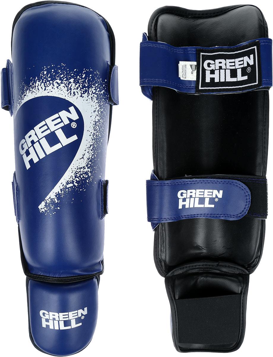 Защита голени и стопы Green Hill Guard, цвет: синий, белый. Размер M. SIG-0012SIG-0012Защита голени и стопы Green Hill Guard с наполнителем, выполненным из вспененного полимера, необходима при занятиях спортом для защиты пальцев и суставов от вывихов, ушибов и прочих повреждений. Накладки выполнены из высококачественной искусственной кожи. Они прочно фиксируются за счет эластичной ленты и липучек.Удобные и эргономичные накладки Green Hill Guard идеально подойдут для занятий тхэквондо и другими видами единоборств.Длина голени: 34 см.Ширина голени: 14 см.Длина стопы: 13,5 см.Ширина стопы: 10,5 см.