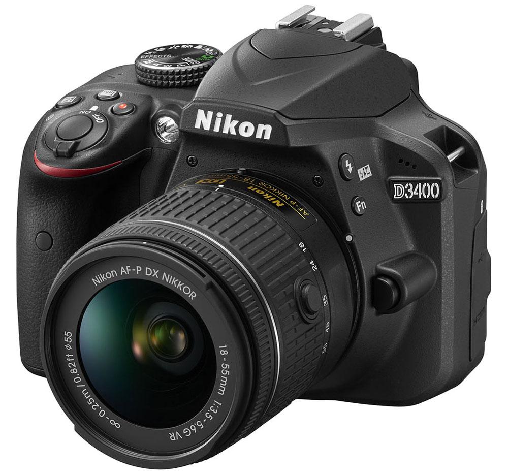 Nikon D3400 Kit 18-55 AF-P VR, Black цифровая зеркальная камера - Зеркальные фотоаппараты