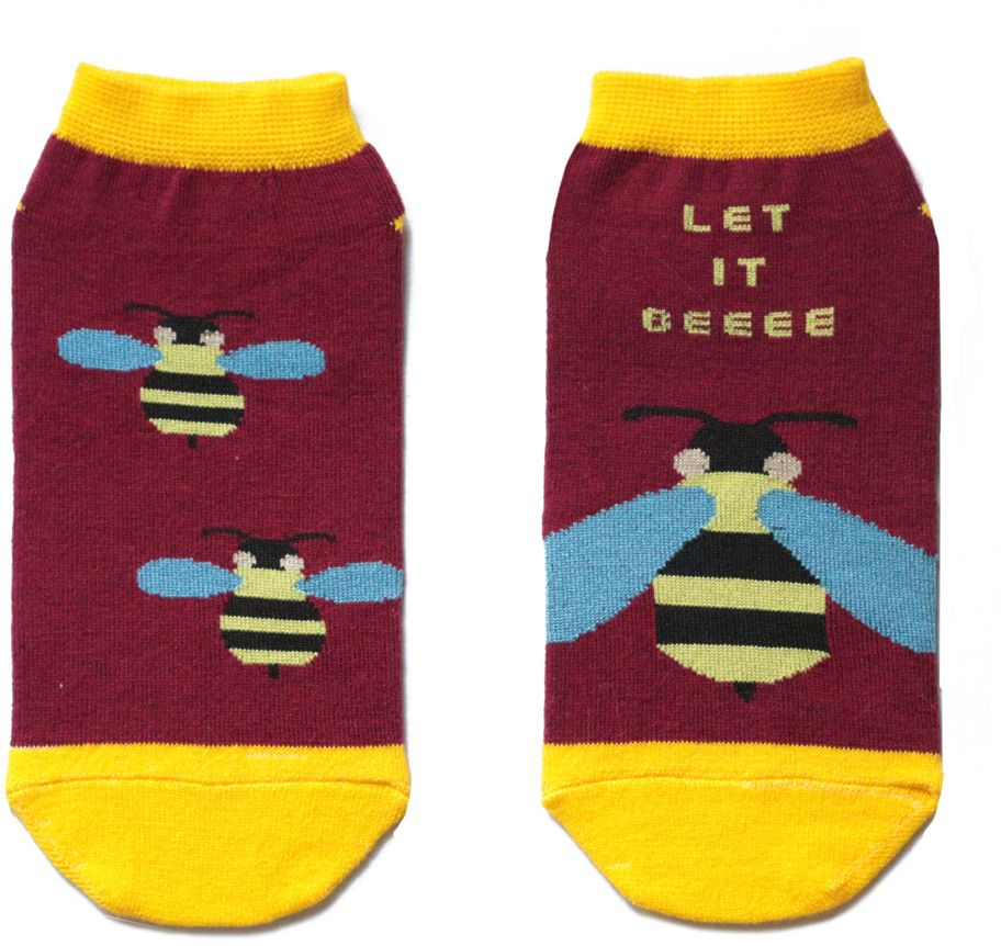 Носки женские Big Bang Socks, цвет: бордовый, желтый. ca11022. Размер 35/39ca11022/ca11032Женский носки Big Bang Socks изготовлены из высококачественного хлопка с добавлением полиамидных и эластановых волокон, которые обеспечивают великолепную посадку.Удобная резинка идеально облегает ногу и не пережимает сосуды, а укороченный паголенок придает более эстетичный вид. Мысок и пятка усилены. Модель оформлена принтом с изображением осы и надписью Let it beeee.