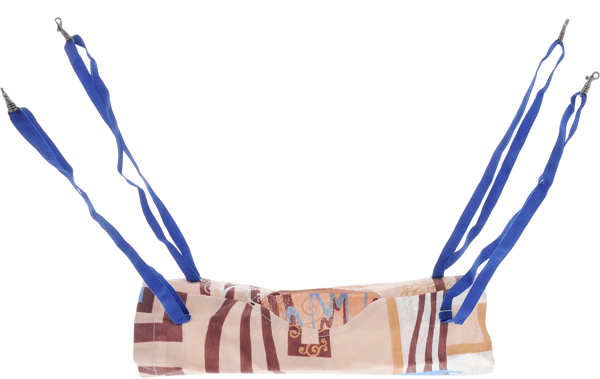Гамак-тоннель для шиншилл и хорьков ЗооМарк, подвесной, цвет: бежевый, коричневый, синий. Д-09 beijilang двойной гамак синий наружный гамак свинг один одиночный двойной холст закрытый гамак 200 150 см синий