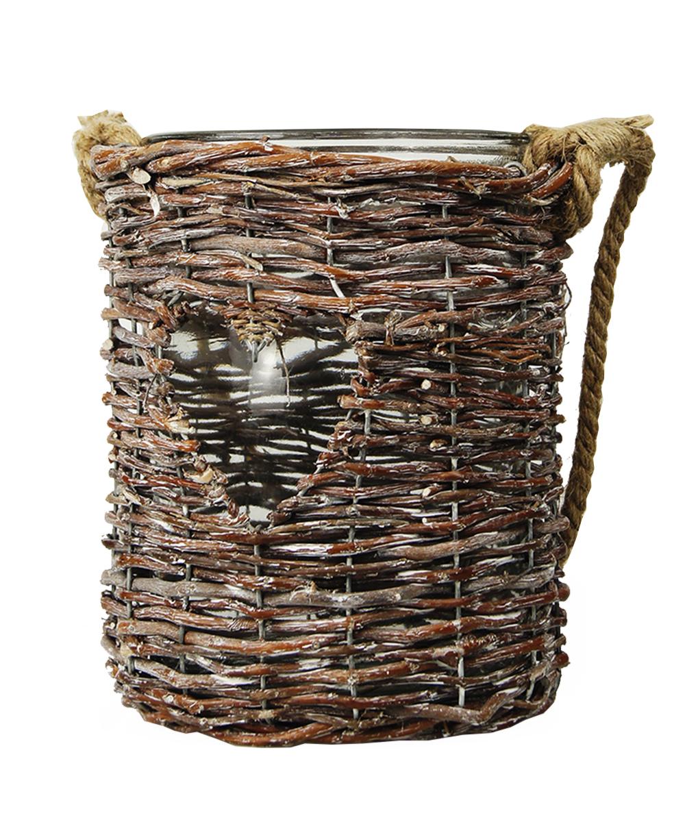 Ваза Этажерка Love, плетеная, с ручкой, цвет: коричневый, высота 23 смRH0979Плетеная ваза Этажерка Love, выполненная из высококачественного стекла и дерева (ивы), имеет изысканный внешний вид. Такая ваза станет идеальным украшением интерьера и прекрасным подарком к любому случаю. Изделие оснащено текстильной ручкой.Высота вазы: 23 см.