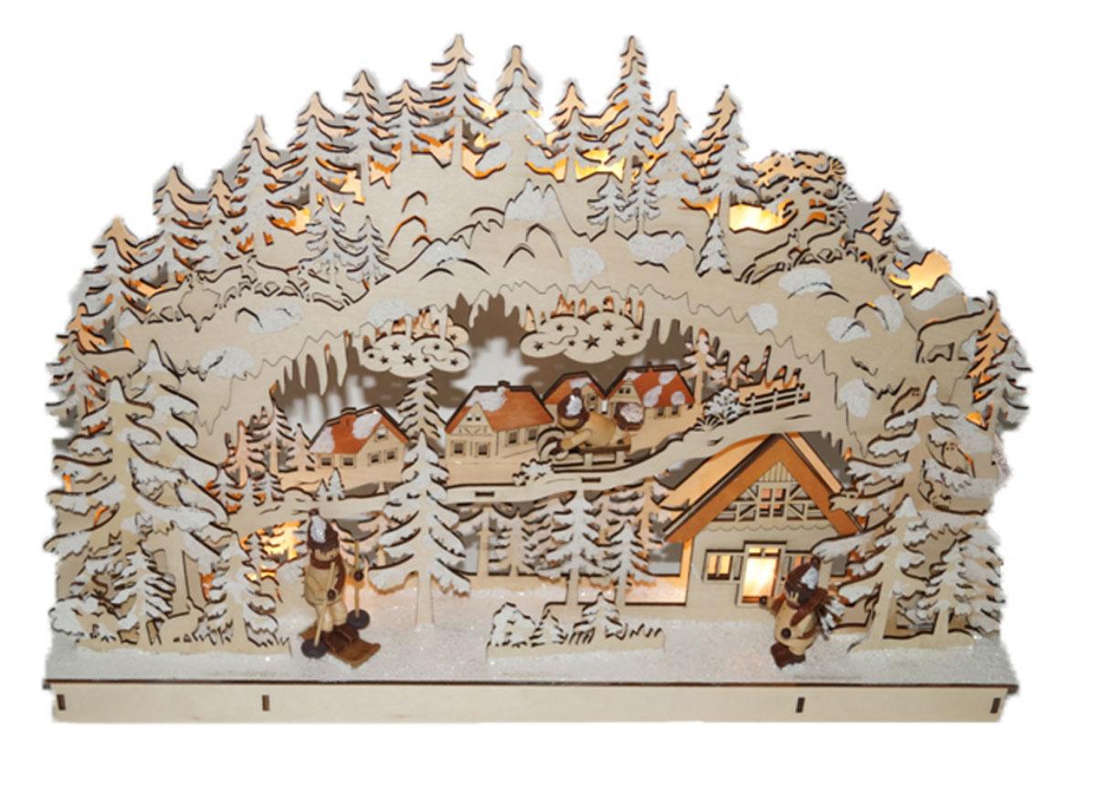 Декорация рождественская Svetlitsa Зимняя деревня, с подсветкой15-104Праздничная декорация Svetlitsa Зимняя деревня выполнена из дерева в виде оригинальной композиции с домиками в окружении заснеженных деревьев. Внутри декорации спрятаны лампы подсветки.Декорация оригинально украсит интерьер помещения и создаст в вашем доме атмосферу уюта и романтики, а также станет замечательным подарком. Количество ламп: 10 LED. Высота светильника: 33 см.Длина светильника: 45,5 см.
