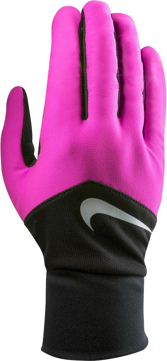 Перчатки для бега женские Nike Dri-Fit Tempo, цвет: розовый, черный, серебристый. Размер MN.RG.E5.619.MDПерчатки для бега женские Nike Dri-Fit Tempo выполнены из полиэстера. Материал с технологией Dri-FIT обеспечивает быстрое впитывание влаги и ее испарение, что позволяет оставаться коже сухой. Сетчатые вставки с Dri-Fit эффектом обеспечивают оптимальную воздухопроницаемость. Кончик указательного и большого пальца выполнены из материала, совместимого с сенсорным дисплеем. Эргономичная форма, повторяющая очертания руки в расслабленном состоянии. Силиконовые вставки на внутренней части перчаток повышают сцепление. Светоотражающий логотип бренда повышает видимость при слабом освещении.