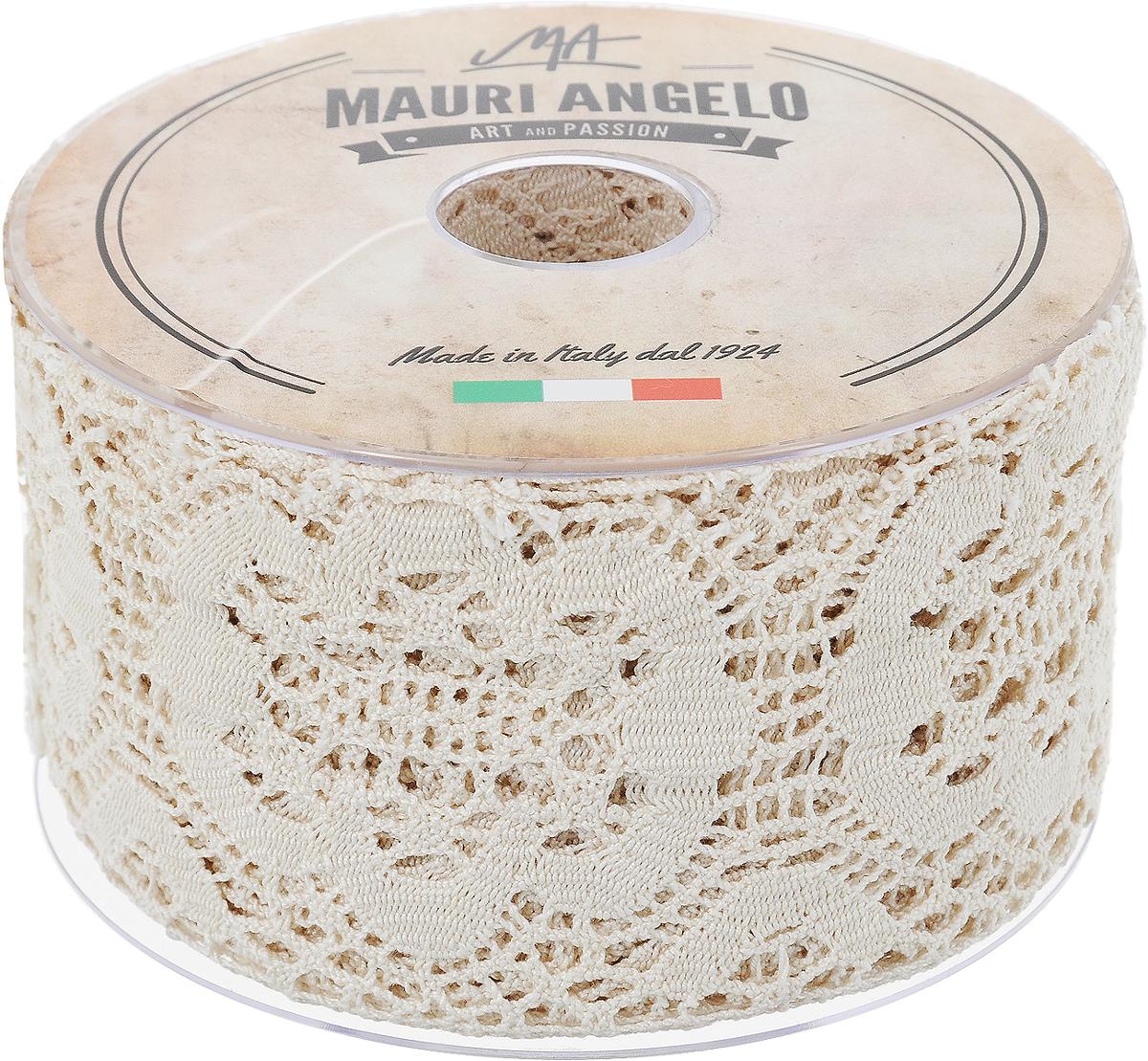 Лента кружевная Mauri Angelo, цвет: бежевый, 7,7 см х 10 мMR4038/EДекоративная кружевная лента Mauri Angelo выполнена из высококачественного хлопка. Кружево применяется для отделки одежды, постельного белья, а также в оформлении интерьера, декоративных панно, скатертей, тюлей, покрывал. Главные особенности кружева - воздушность, тонкость, эластичность, узорность.Такая лента станет незаменимым элементом в создании рукотворного шедевра.