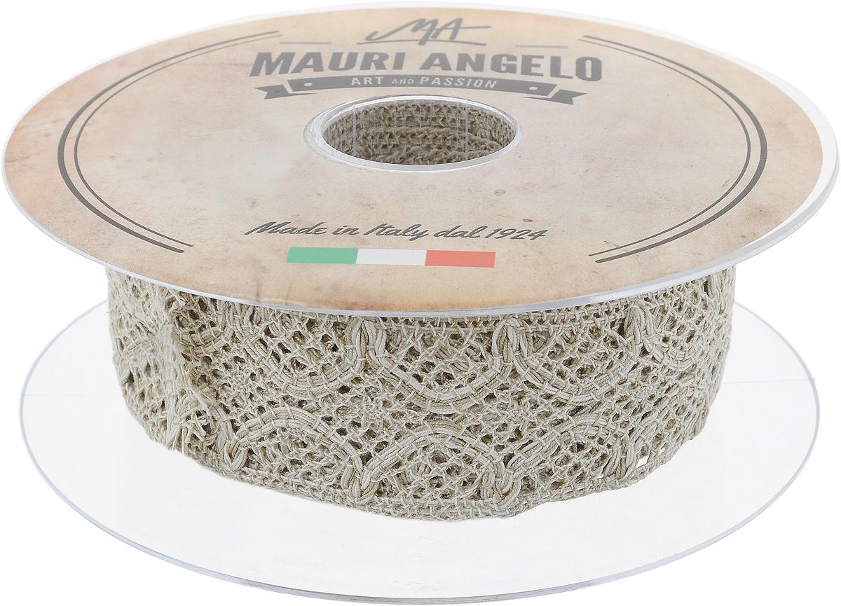 Лента кружевная Mauri Angelo, цвет: бежевый, 4 см х 10 м