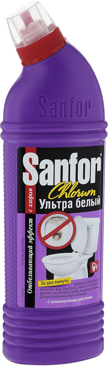 """Специальная формула Sanfor """"Chlorum"""" с содержанием хлора в допустимых количествах одинаково хорошо подходит для чистки ванн и унитазов. Эффективно удаляет серый налет, въевшуюся грязь, мыльные потеки. Мгновенно, без длительных выдерживаний придает поверхностям первоначальную белизну. Благодаря загущенной формуле равномерно распределяется и не стекает с наклонных поверхностей. Можно использовать для чистки душевых кабин, раковин, керамической плитки, настенных панелей, напольных покрытий. Обладает антимикробными свойствами. Хлор – наиболее эффективное дезинфицирующее вещество. Состав: 5 % или более, но менее 15 % - гипохлорит натрия (калия), менее 5 % - АПАВ и НПАВ, мыло на основе натуральных жирных кислот, щелочь, ароматизатор.Товар сертифицирован.  Как выбрать качественную бытовую химию, безопасную для природы и людей. Статья OZON Гид"""