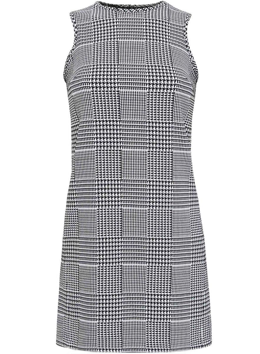 Платье oodji Ultra, цвет: черный, белый. 11900199/43358/2912G. Размер 42 (48-170) юбка oodji collection цвет черный карамельный 21600297 1 43561 294bl размер 38 44 170