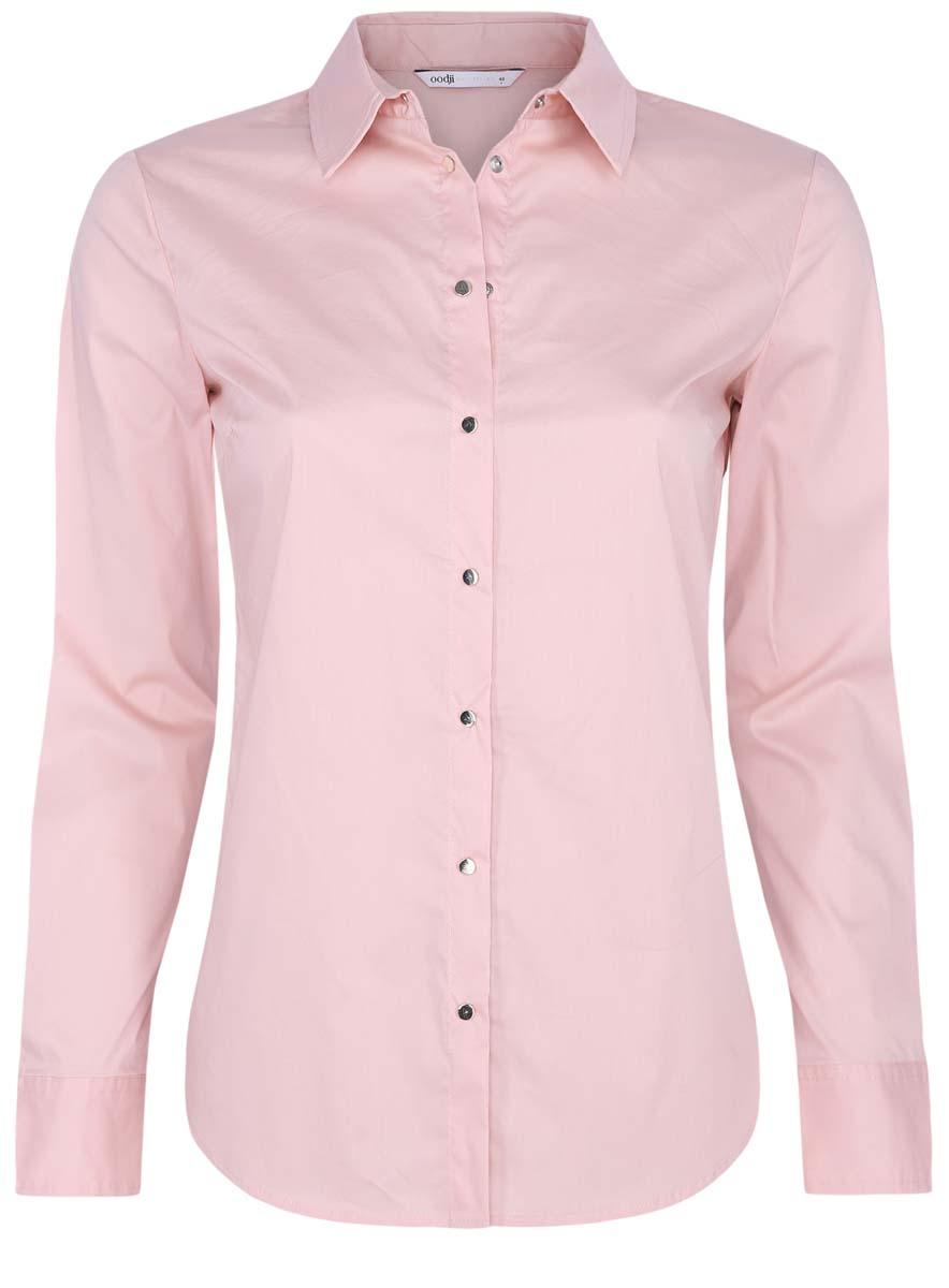 Блузка женская oodji Collection, цвет: бледно-розовый. 21406034-1/42083/4000N. Размер 42 (48-170) платье oodji collection цвет красный 24007026 37809 4500n размер l 48