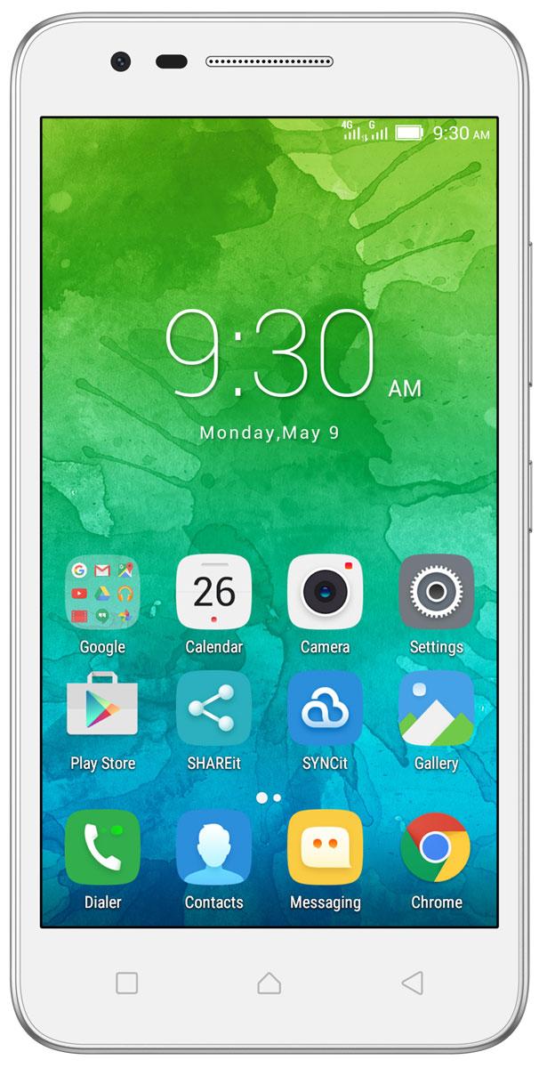 Lenovo Vibe C2 (K10A40), WhitePA450059RUСтильный смартфон Lenovo Vibe C2 с 5-дюймовым экраном HD, мощным четырехъядерным процессором и двумя камерами высокого разрешения — и все это в стандартной комплектации. Помимо поддержки стандарта 4G, в этом смартфоне есть сменный аккумулятор, слот для карт памяти MicroSD и поддержка двух SIM-карт.Стильное матовое покрытие и 5-дюймовый дисплей с HD-разрешением: смартфон Lenovo Vibe C2 просто нельзя не заметить.Узнавай новости и получай необходимую информацию одним движением, не переключаясь между приложениями и не сворачивая экран. Благодаря технологии энергосбережения смартфон работает дольше. Используй приложения и переключайся между ними так, как тебе удобно. Все эти задачи и многие другие возможности доступны благодаря операционной системе Android 6.0 (Marshmallow).Lenovo Vibe C2 обеспечивает высочайший уровень производительности с первых минут использования. Благодаря четырехъядерному процессору 1,0 ГГц ты можешь легко выполнять несколько задач одновременно и использовать все возможности устройства в полную силу — от музыкальных приложений и видеоканалов в Интернете до социальных сетей.Lenovo Vibe C2 оснащен двумя камерами высокого разрешения и передовой технологией фотосъемки.В дополнение к интерфейсам Bluetooth, Wi-Fi и GPS, смартфон Lenovo Vibe C2 может подключаться к сетям LTE (4G) для передачи файлов с высокой скоростью. В нем также реализована поддержка двух SIM-карт, что позволяет использовать два разных телефонных номера в одном смартфоне.Любимый фильм или личный плей-лист — ты оценишь высочайшее качество звука благодаря встроенному усилителю и технологии Waves MaxxAudio в смартфоне Lenovo Vibe C2.В смартфоне Lenovo Vibe C2, разработанном с учетом активного образа жизни современного человека, очень легко заменить аккумулятор. Просто извлеки разряженный аккумулятор, вставь запасную батарею — и продолжай использовать устройство.Если встроенной памяти окажется недостаточно для твоей музыки и цифровых файлов, установи