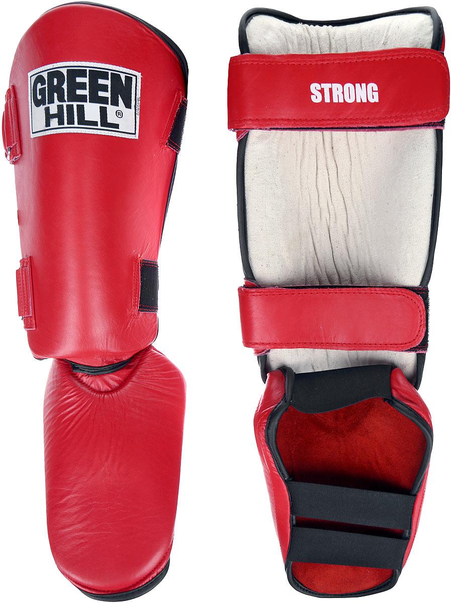 Защита голени и стопы Green Hill Strong, цвет: красный, черный. Размер S. SIPS-6135aSIC-2141Защита голени и стопы Green Hill Strong необходима при занятиях спортом для защиты пальцев и суставов от вывихов, ушибов и прочих повреждений. Выполнена из высококачественной натуральной кожи. Наполнитель изготовлен из вспененного полимера. Защита закрепляется при помощи ремней на липучках. Защита правильно подобранного размера надежно сидит на ноге, не спадает и не сваливается во время поединка. Длина голени: 31 см. Ширина голени: 14 см. Длина стопы: 19 см. Ширина стопы: 17 см.