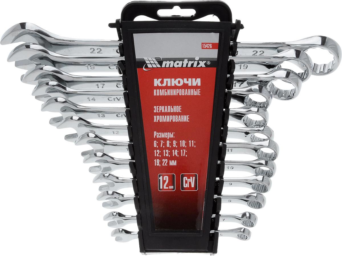 Набор ключей комбинированных Matrix, полированный хром, 12 шт15426Набор Matrix предназначен для монтажа демонтажа резьбовых соединений. Ключи изготовлены из хромванадиевой стали. Твердость материала рабочей части ключа 45 HRc (требования ГОСТ - 45-51 HRc). Ключи имеют полированное хромоникелевое покрытие. Поставляются в комплекте с пластмассовым держателем. Профиль кольцевого зева имеет 12 граней, что увеличивает площадь соприкосновения рабочих поверхностей и снижает риск деформации граней крепежа при монтаже. Угол наклона кольцевого зева относительно плоскости ключа в 15° делает монтаж более удобным.В состав входят ключи на 6 мм, 7 мм, 8 мм, 9 мм, 10 мм, 11 мм, 12 мм, 13 мм, 14 мм, 17 мм, 19 мм, 22 мм.