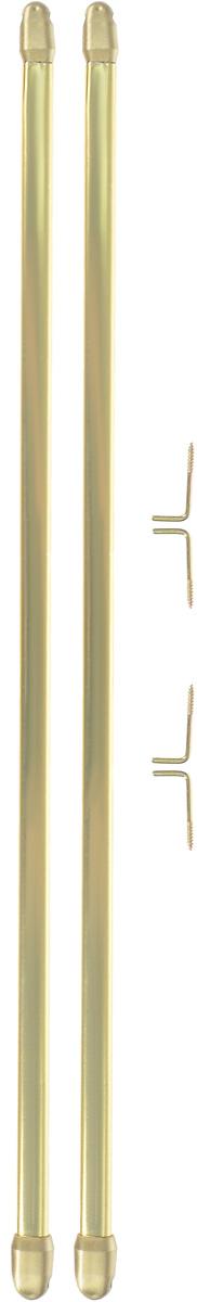 Штанга однорядная Эскар, телескопическая, цвет: латунь, длина 40-70 см, 2 шт9280000040Витражная штанга Эскар - это не только аксессуар для штор, но и элемент декора. Изделие выполнено из металла. Держатели штанг вкручиваются в раму в предварительно рассверленное отверстие. В комплект входят: 2 штанги, 4 крючка для крепления.Оригинальная и стильная штанга дополнит интерьер любой комнаты. Длина карниза: 40-70 см. Штанга однорядная Эскар, металлическая, телескопическая, цвет: латунь, длина 40-70 см, 2 шт