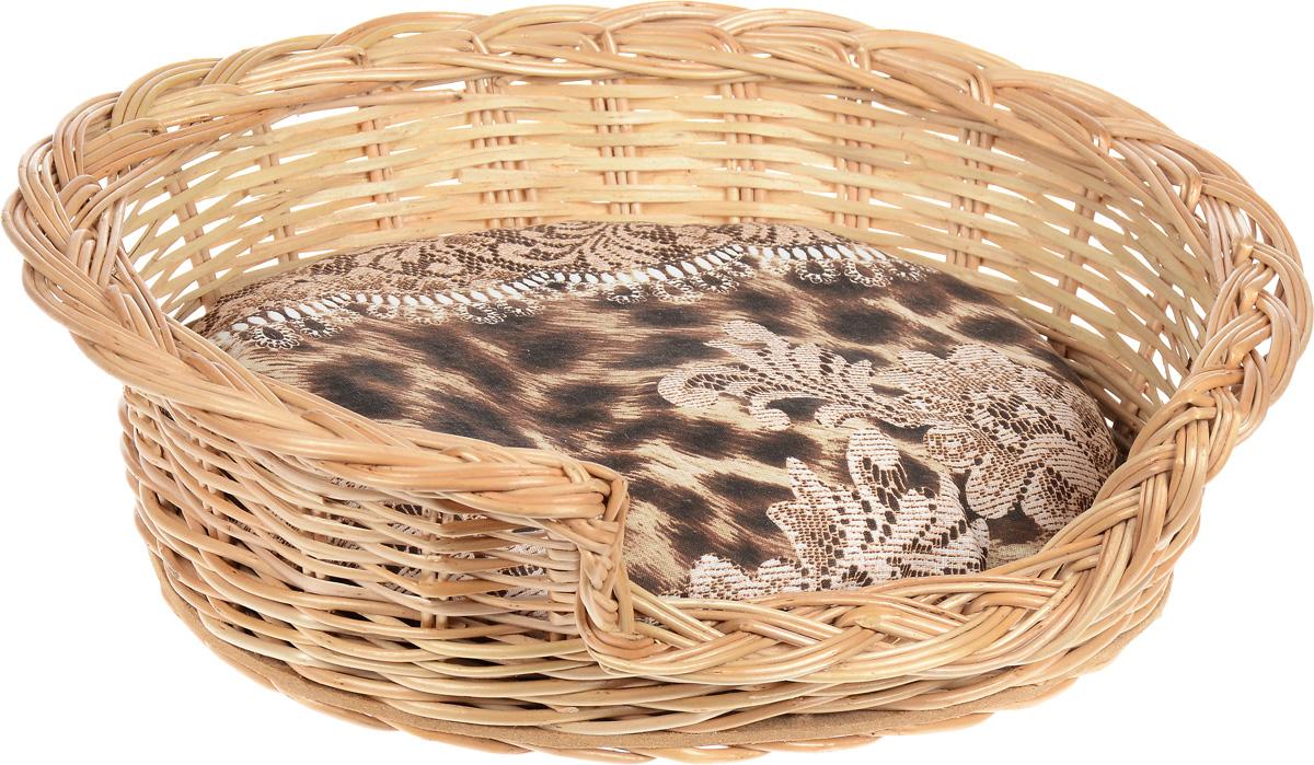 Лежак для животных Меридиан, из лозы, №1, 46 х 39 х 13 см лежак для животных каскад клетка 2 46 х 46 х 15 см