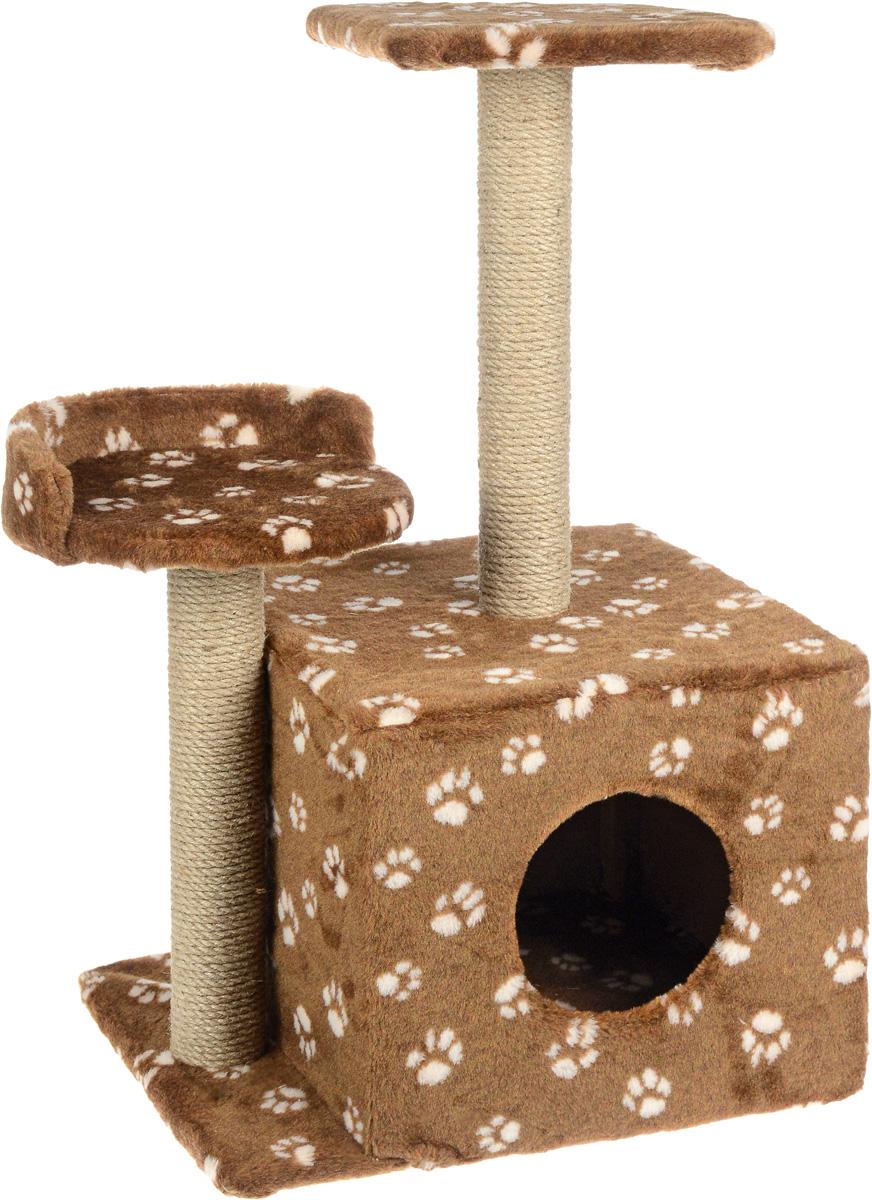 Игровой комплекс для кошек  Меридиан , с домиком и когтеточкой, цвет: темно-коричневый, бежевый, 35 х 45 х 75 см