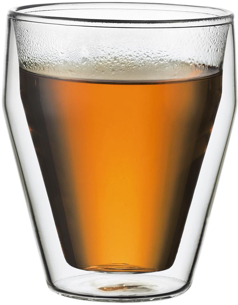 """Набор термобокалов Bodum """"Titlis"""" выполнены из двойного боросиликатного стекла, что позволяет не только держать горячие напитки горячими в течение более длительного времени, но он также позволяет холодным напиткам оставаться холодными дольше. Боросиликатное стекло создает впечатление, будто напиток """"плавает"""" внутри термобокала. Он намного легче, чем стакан из обычного стекла. Еще одна приятная особенность - отсутствие конденсата, что препятствует возникновению грязных следов от бокала. Термобокалы можно использовать в микроволновой печи и мыть в посудомоечной машине. Боросиликатное стекло выдерживает температуры от -30°C до +520°C."""