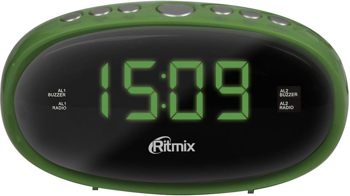 Ritmix RRC-616, Green радио-будильникRRC-616 GREENRitmix RRC-616 - это компактные FM-радиочасы с функцией будильника. Модель оснащена дисплеем с легкой и понятной индикацией, высота цифр - 1,5 см. Радиочасы имеют множество полезных функций: цифровую настройку на 10 станций, таймер выключения, регулировку настройки яркости.Компактный размер2 будильникаПовтор сигнала будильникаТаймер выключенияВнешняя антенна для уверенного приемаКнопочное управлениеПитание от сети (батарейки служат только для сохранения настроек времени и будильника)Регулировка настройки яркости