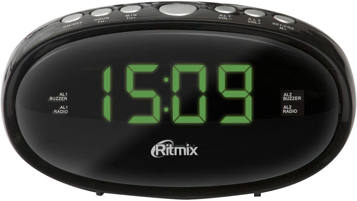 Ritmix RRC-616, Black радио-будильникRRC-616 BLACKRitmix RRC-616 - это компактные FM-радиочасы с функцией будильника. Модель оснащена дисплеем с легкой и понятной индикацией, высота цифр - 1,5 см. Радиочасы имеют множество полезных функций: цифровую настройку на 10 станций, таймер выключения, регулировку настройки яркости.Компактный размер2 будильникаПовтор сигнала будильникаТаймер выключенияВнешняя антенна для уверенного приемаКнопочное управлениеПитание от сети (батарейки служат только для сохранения настроек времени и будильника)Регулировка настройки яркости