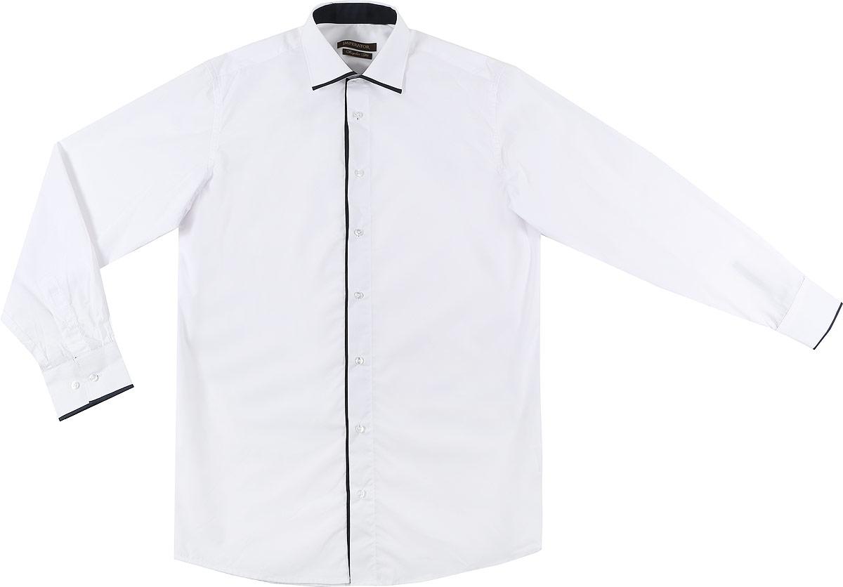 Рубашка мужская Imperator, цвет: белый. PT2000-47. Размер 40-170/178 (48-170/178)PT2000-47Мужская рубашка Imperator выполнена из хлопка с добавлением полиэстера. Рубашка прямого кроя с длинными рукавами и отложным воротником застегивается на пуговицы. Манжеты рукавов также дополнены застежками-пуговицами.