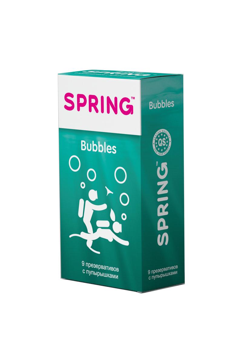 Презервативы SPRING™ Bubbles, с пупырышками, 9 шт.203Презервативы классическои? формы, с силиконовой смазкой, с пупырышками для дополнительнои? стимуляции партнерши. Более яркие ощущения от проникновения, большее наслаждение во время интимнои? близости и более яркие оргастические ощущения.
