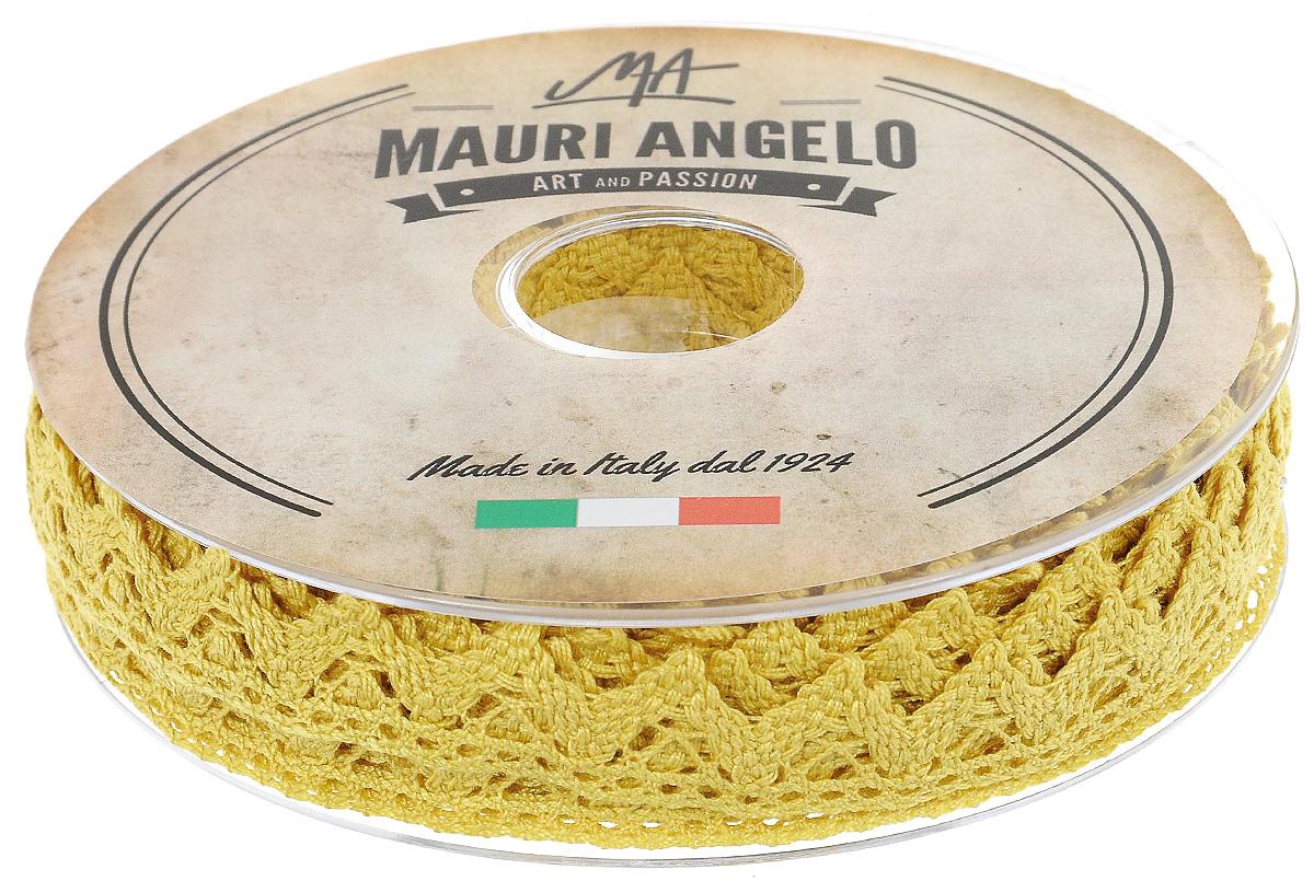 Лента кружевная Mauri Angelo, цвет: горчичный, 1,8 см х 20 мMR2710/029Декоративная кружевная лента Mauri Angelo выполнена из высококачественного хлопка. Кружево применяется для отделки одежды, постельного белья, а также в оформлении интерьера, декоративных панно, скатертей, тюлей, покрывал. Главные особенности кружева - воздушность, тонкость, эластичность, узорность.Такая лента станет незаменимым элементом в создании рукотворного шедевра.
