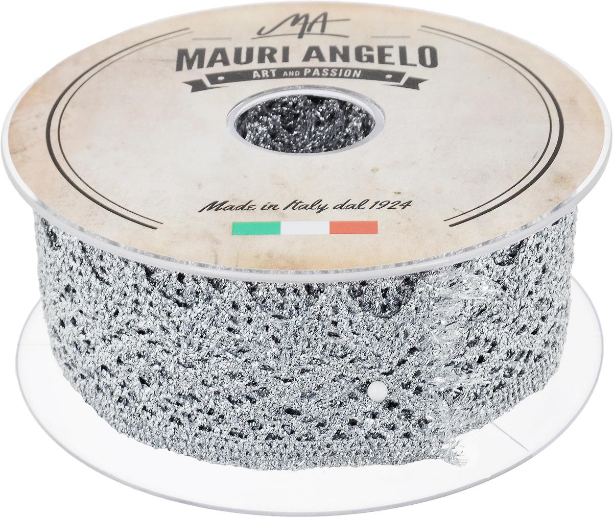 Лента кружевная Mauri Angelo, цвет: серебристый, 4,4 см х 10 мMR3125/11Декоративная кружевная лента Mauri Angelo выполнена из высококачественных материалов. Кружево применяется для отделки одежды, постельного белья, а также в оформлении интерьера, декоративных панно, скатертей, тюлей, покрывал. Главные особенности кружева - воздушность, тонкость, эластичность, узорность.Такая лента станет незаменимым элементом в создании рукотворного шедевра.