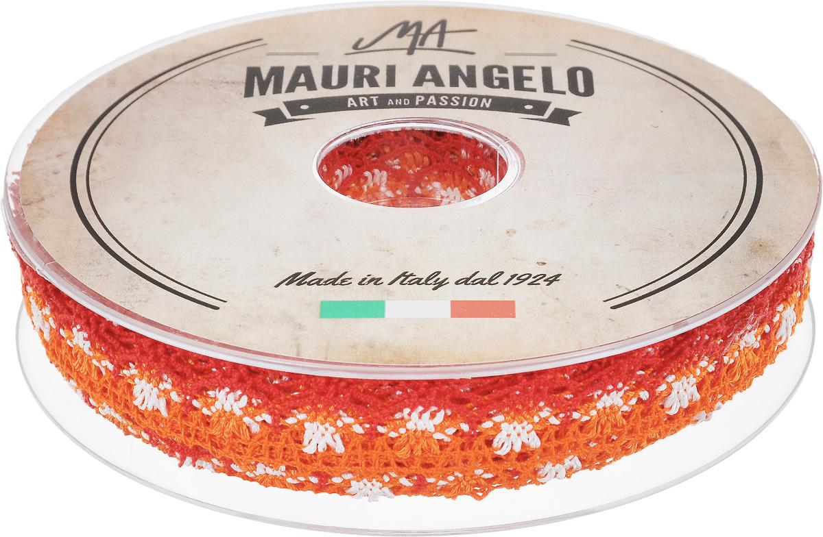 Лента кружевная Mauri Angelo, цвет: оранжевый, красный, белый, 1,8 см х 20 м. MR8849/MC/3MR8849/MC/3Декоративная кружевная лента Mauri Angelo выполнена из высококачественного хлопка и ацетатного волокна. Кружево применяется для отделки одежды, постельного белья, а также в оформлении интерьера, декоративных панно, скатертей, тюлей, покрывал. Главные особенности кружева - воздушность, тонкость, эластичность, узорность.Такая лента станет незаменимым элементом в создании рукотворного шедевра.