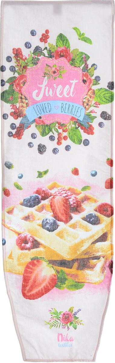 """Чехол Nika """"Loved Berries"""", выполненный из хлопка с поролоном,  продлит срок службы вашей гладильной доски. Чехол снабжен  стягивающим шнуром, при помощи которого вы легко  отрегулируете оптимальное натяжение и зафиксируете чехол  на рабочей поверхности гладильной доски. Чехол оформлен  красивым рисунком, что оживит внешний вид вашей  гладильной доски.   Размер чехла: 129 х 40 см.  Максимальный размер доски: 125 х 36 см."""
